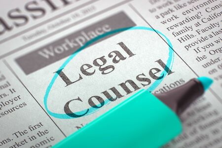 counsel: Legal Counsel - Small Ads of Job Search in Newspaper, Circled with a Azure Marker. Blurred Image with Selective focus. Concept of Recruitment. 3D.