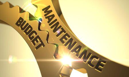 unplanned: Maintenance Budget - Industrial Design. Maintenance Budget Golden Cogwheels. Maintenance Budget - Illustration with Lens Flare. Golden Metallic Cog Gears with Maintenance Budget Concept. 3D Render.