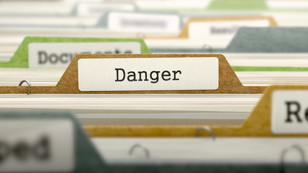 imminence: File Folder Labeled as Danger in Multicolor Archive. Closeup View. Blurred Image. 3D Render.