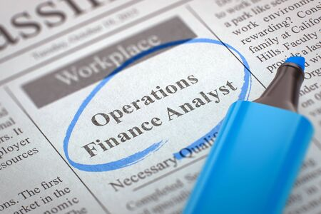 classifieds: Newspaper with Advertisements and Classifieds Ads for Vacancy Operations Finance Analyst. Blurred Image with Selective focus. Concept of Recruitment. 3D Illustration. Stock Photo
