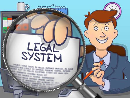 lawmaking: Legal System through Magnifier. Businessman Sitting in Office and Holding Paper with Inscription. Multicolor Doodle Illustration.