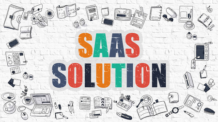 saas: Multicolor Concept - SaaS - Software as a Service - Solution - on White Brick Wall with Doodle Icons Around. Modern Illustration with Doodle Design Style.