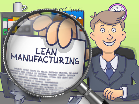 overproduction: Lean Manufacturing. Cheerful Officeman Sitting in Office and Holding a Paper with Concept through Magnifier. Multicolor Doodle Style Illustration.
