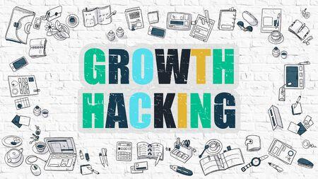 Crescita Hacking Concept. Crescita Hacking disegnato sul muro bianco. La crescita Hacking in multicolore. Stile illustrazione moderna. Disegno di Doodle stile di crescita Hacking. Linea Stile Illustrazione. Muro di mattoni bianchi.