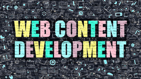 rewriting: Web Content Development - Multicolor Concept on Dark Brick Wall Background with Doodle Icons Around. Illustration with Elements of Doodle Style. Web Content Development on Dark Wall.