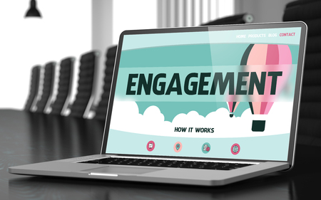 inducement: Engagement Concept. Closeup of Landing Page on Laptop Screen in Modern Meeting Room. Toned Image. Selective Focus. 3D Rendering.