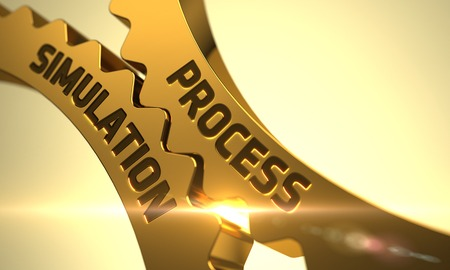 refinement: Process Simulation Golden Metallic Gears. Process Simulation on the Mechanism of Golden Metallic Gears with Glow Effect. Process Simulation - Concept. 3D. Stock Photo