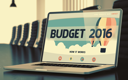 Budget 2016 on Landing Page of Mobile Computer Display. Closeup View. Modern Conference Room Background. Blurred. Toned Image. 3D Render. Stock Photo