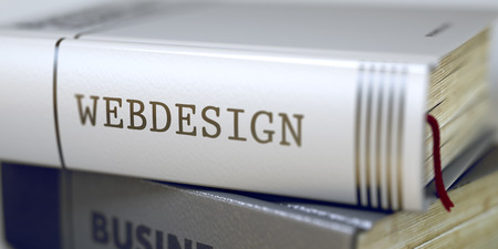 xhtml: Webdesign - Book Title on the Spine. Closeup View. Stack of Business Books. Webdesign - Leather-bound Book in the Stack. Closeup. Blurred 3D Rendering.