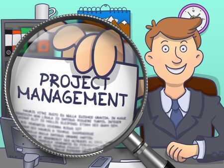 pm: Officeman Shows Concept on Paper Project Management. Closeup View through Magnifying Glass. Multicolor Doodle Style Illustration. Stock Photo
