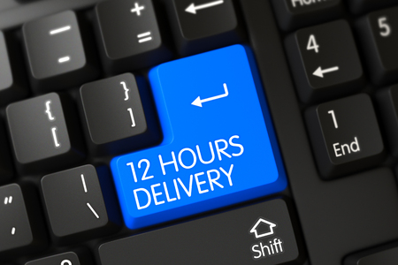12: 12 Hours Delivery Concept: Modernized Keyboard with 12 Hours Delivery on Blue Enter Button Background, Selected Focus. Key 12 Hours Delivery on Modernized Keyboard. 3D.