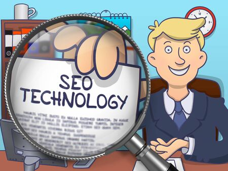 magnifying glass man: SEO Technology through Magnifying Glass. Man Holding a Paper with Inscription. Closeup View. Multicolor Modern Line Illustration in Doodle Style. Stock Photo