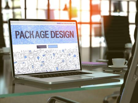 publicidad exterior: Lugar de trabajo moderno con la computadora portátil que muestra la página de destino en el estilo del diseño del Doodle con el texto del paquete de diseño. Imagen virada con enfoque selectivo. Render 3D.