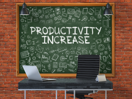 refinement: Green Chalkboard on the Red Brick Wall in the Interior of a Modern Office with Hand Drawn Productivity Increase. Business Concept with Doodle Style Elements. 3D.