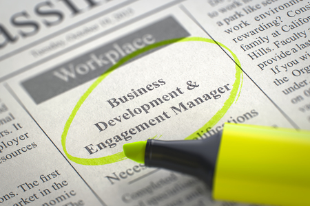 classifieds: Business Development & Engagement Manager. Newspaper with the Advertisements and Classifieds Ads for Vacancy, Circled with a Yellow Marker. Blurred Image with Selective focus. Job Search Concept. 3D.