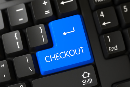 superintendence: Checkout Keypad. Checkout Close Up of Modern Laptop Keyboard on a Modern Laptop. Concepts of Checkout, with a Checkout on Blue Enter Keypad on Modernized Keyboard. 3D Illustration. Stock Photo
