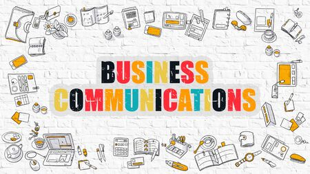 ethic: Business Communications. Multicolor Inscription on White Brick Wall with Doodle Icons Around. Modern Style Illustration with Doodle Design Icons. Business Communications on White Brickwall Background.