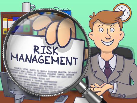minimization: Risk Management on Paper in Mans Hand through Lens to Illustrate a Business Concept. Multicolor Doodle Illustration.