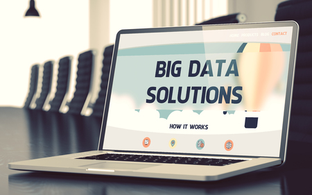 outcomes: Big Data Solutions on Landing Page of Mobile Computer Screen. Closeup View. Modern Conference Hall Background. Blurred. Toned Image. 3D Render.