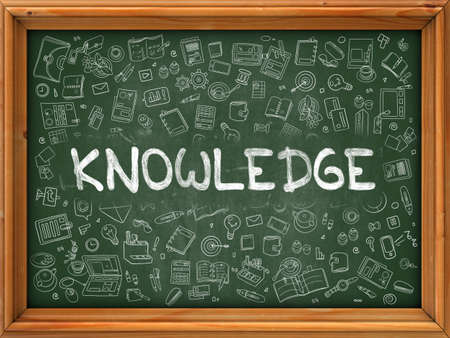 cognizance: Knowledge Concept. Modern Line Style Illustration. Knowledge Handwritten on Green Chalkboard with Doodle Icons Around. Doodle Design Style of Knowledge Concept.