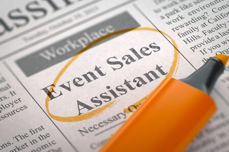 classifieds: A Newspaper Column in the Classifieds with the Small Ads of Job Search of Event Sales Assistant, Circled with a Orange Marker. Blurred Image with Selective focus. Job Seeking Concept. 3D Illustration. Stock Photo