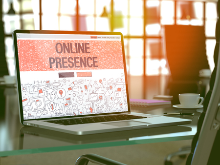 web presence internet presence: Online Presence Concept. Closeup Landing Page on Laptop Screen in Doodle Design Style. On Background of Comfortable Working Place in Modern Office. Blurred, Toned Image. 3D Render. Stock Photo