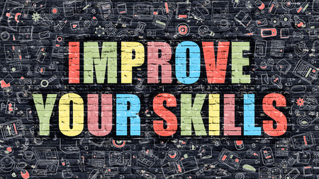 self training: Improve Your Skills - Multicolor Concept on Dark Brick Wall Background with Doodle Icons Around. Modern Illustration with Elements of Doodle Style.Improve Your Skills on Dark Wall.
