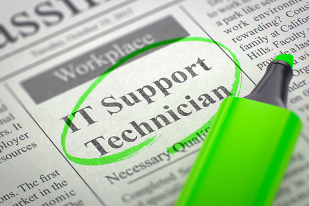 it technician: IT Support Technician. Newspaper with the Jobs Section Vacancy, Circled with a Green Highlighter. Blurred Image with Selective focus. Job Seeking Concept. 3D.