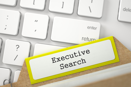 executive search: Executive Search. Yellow Index Card Lays on White Modern Computer Keyboard. Business Concept. Close Up View. Selective Focus. 3D Rendering.