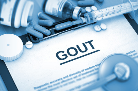 purine: GOUT, Medical Concept with Pills, Injections and Syringe. GOUT, Medical Concept with Selective Focus. Diagnosis - GOUT On Background of Medicaments Composition - Pills, Injections and Syringe. 3D.