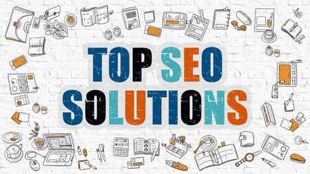metasearch: Top SEO Solutions - Multicolor Concept with Doodle Icons Around on White Brick Wall Background. Modern Illustration with Elements of Doodle Design Style.