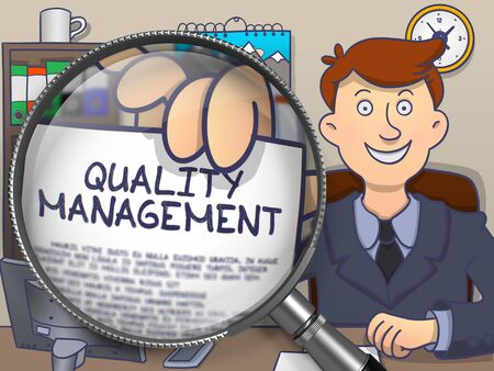 quality management: Businessman Shows Concept on Paper Quality Management. Closeup View through Magnifying Glass. Colored Doodle Style Illustration.