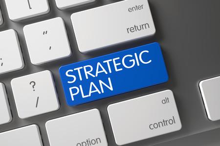 Concept Plan stratégique Clavier d'ordinateur portable moderne avec plan stratégique sur le bleu bouton Entrée fond, Mise au point sélectionnée. Modern Keyboard avec les mots du Plan stratégique sur le bleu clavier. Illustration 3D. Banque d'images