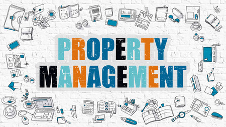 stead: Property Management. Multicolor Inscription on White Brick Wall with Doodle Icons Around. Modern Style Illustration with Doodle Design Icons. Property Management on White Brickwall Background. Stock Photo
