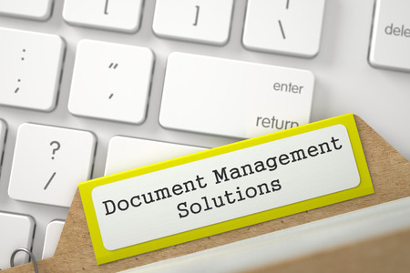 Document Management Solutions. Yellow Sort Index Card on Background of White PC Keypad. Business Concept. Closeup View. Blurred Illustration. 3D Rendering. Stock Photo