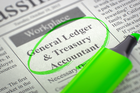 classifieds: Newspaper with Jobs Section Vacancy General Ledger & Treasury Accountant. Blurred Image. Selective focus. Concept of Recruitment. 3D Rendering.