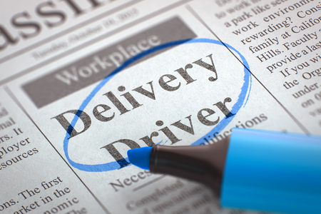 Delivery Driver - Vacancy in Newspaper, Circled with a Blue Marker. Newspaper with Vacancy Delivery Driver. Blurred Image with Selective focus. Concept of Recruitment. 3D Rendering.