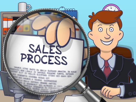 sales process: Sales Process. Concept on Paper in Mans Hand through Magnifier. Colored Doodle Illustration. Stock Photo