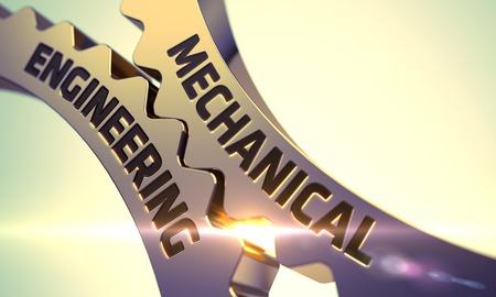 Mechanical Engineering - Illustratie met Lens Flare. Werktuigbouwkunde Golden Metallic Cog Gears. Mechanical Engineering op het mechanisme van Golden Cog Gears met Lens Flare. 3D Render.