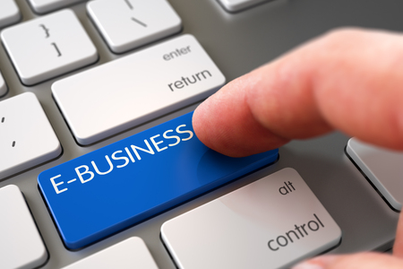 ebusiness: Hand of Young Man on E-business Blue Key. E-business - Aluminum Keyboard Key. E-business Concept - Aluminum Keyboard with Keypad. Finger Pressing a Modernized Keyboard Key with E-business Sign. 3D. Stock Photo