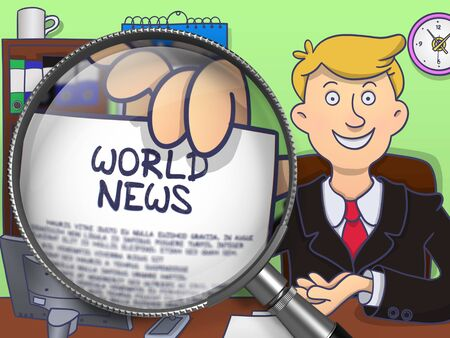 mondial: World News. Happy Business Man in Office Workplace Holding a Paper with Concept through Magnifier. Multicolor Doodle Illustration.