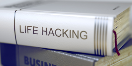mnemonic: Stack of Business Books. Book Spines with Title - Life Hacking. Closeup View. Book Title on the Spine - Life Hacking. Closeup View. Stack of Books. Blurred Image. Selective focus. 3D Rendering.
