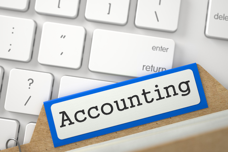 stocktaking: Accounting. Orange Folder Index Overlies White PC Keypad. Archive Concept. Close Up View. Selective Focus. 3D Rendering.