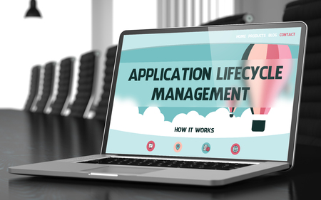 lifecycle: Application Lifecycle Management Concept. Closeup Landing Page on Laptop Display on Background of Meeting Hall in Modern Office. Toned Image. Selective Focus. 3D Illustration.