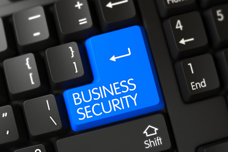 stocktaking: A Keyboard with Blue Key - Business Security. Business Security Key on Modern Keyboard. Modern Laptop Keyboard with Hot Button for Business Security. 3D.