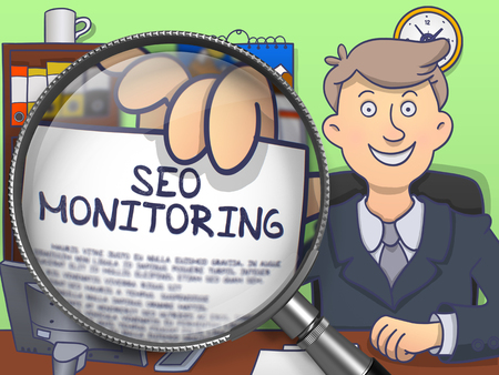 rewriting: SEO Monitoring on Paper in Business Mans Hand to Illustrate a Business Concept. Closeup View through Magnifier. Colored Doodle Illustration.