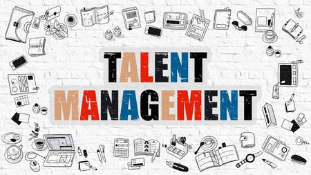 Talent Management Concept. Talent Management Drawn on White Wall. Talent Management in Multicolor. Doodle Design. Modern Style Illustration. Line Style Illustration. White Brick Wall.