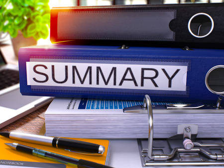summary: Summary - Blue Ring Binder on Office Desktop with Office Supplies and Modern Laptop. Summary Business Concept on Blurred Background. Summary - Toned Illustration. 3D Render.