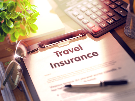 insurer: Business Concept - Travel Insurance on Clipboard. Composition with Office Supplies on Desk. Travel Insurance- Text on Clipboard with Office Supplies on Desk. 3d Rendering. Toned and Blurred Image. Stock Photo
