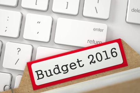 Budget 2016. Red Folder Register on Background of White Modern Computer Keypad. Archive Concept. Closeup View. Blurred Illustration. 3D Rendering. Stock Photo